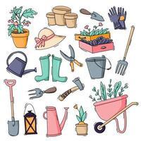 Gartenarbeit und wachsen Icon-Set vektor