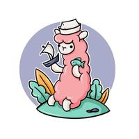 söt lama med sjöman hatt spelar vektor