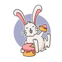 rolig kanin som äter en tårta vektor