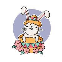 rolig kanin i ett påskägg