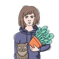 junge Frau, die eine Topfpflanze mit einer lustigen Katze hält vektor