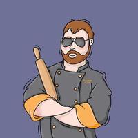 Mann, der einen Kochmantel trägt, der einen Nudelholz hält