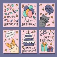 födelsedagskort med djuruppsättning