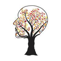 menschlicher Kopfbaum mit bunten Blättern lokalisiert vektor