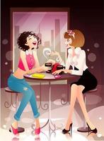 kvinnor som har kul på ett kafé vektor