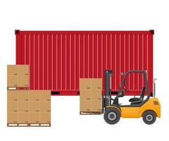 Gabelstapler laden Frachtcontainer isoliert vektor
