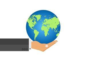 man hand hålla jorden världen. vektor