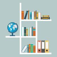 weiße Bücherregale in flachem Design vektor