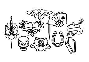 Gammal skola tatuering vektor pack