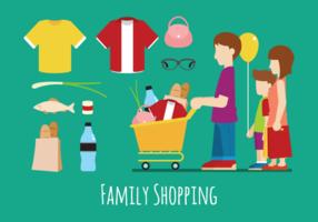 Illustration der Familie Shopping-Vektoren vektor