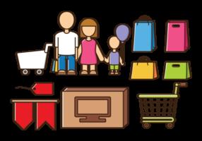 Familien-Shopping-Vektoren