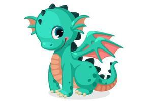 söt grön baby drake vektor