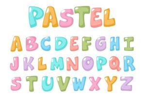 roligt, pastellfärgat teckensnitt för barn vektor