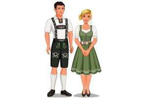 Paar in traditioneller deutscher Kleidung vektor