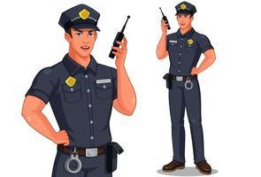 manlig polis med en walkie-talkie-radio