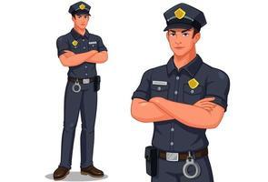 männlicher Polizist stehend eingestellt vektor