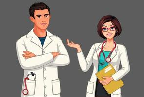 junge männliche und weibliche Ärzte vektor