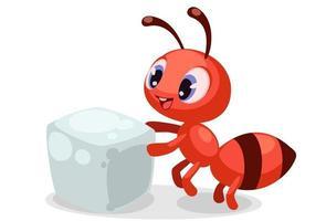 söt baby myra som bär en sockerkub vektor