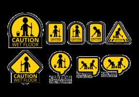 Wet Floor Icons Vektor