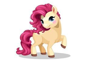 liten ponny med rosa hår vektor