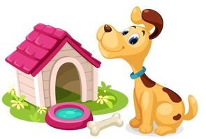 niedlicher Cartoonhund mit kleinem Haus vektor