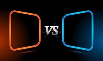 versus roter und blauer Neonlichtrahmenschablonenhintergrund vektor