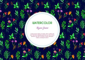 Mörk vattenfärg Thyme Blommor Vector