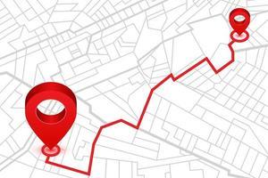 Pins, die die Position auf der GPS-Navigator-Karte anzeigen vektor