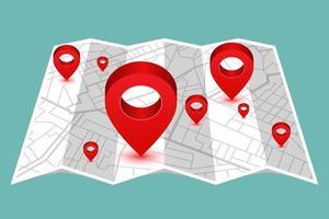 stift i visar plats på vikbar karta