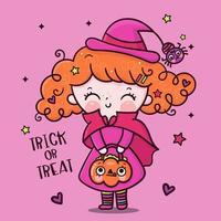 niedliche Halloween-Mädchenhexe mit Kürbisbonbonhalter