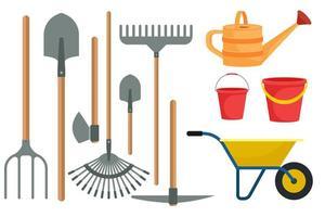 trädgårdsarbete verktyg som i platt design isolerade