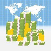 världskarta med högar med pengar