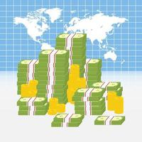 Weltkarte mit Haufen Geld vektor