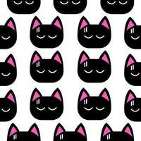 nahtloses Muster des kleinen schwarzen Katzengesichtes vektor
