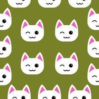 weiße Katze zwinkert nahtloses Muster vektor