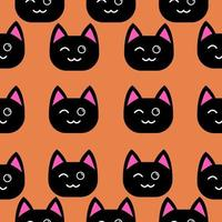 schwarze Katze zwinkert nahtloses Muster vektor