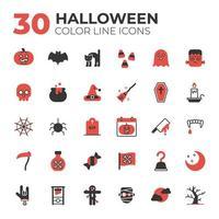 uppsättning röda och svarta halloween ikoner vektor