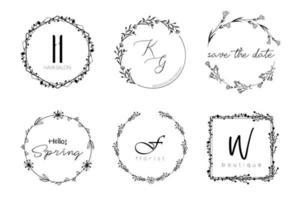 minimaler Entwurf des Blumenkranzes für Hochzeitseinladung oder Marke vektor
