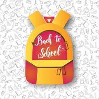 tillbaka till skolan bokstäver på ryggsäck över mönster