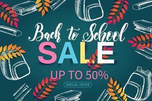 buntes Back-to-School-Verkaufsbanner mit Skizzenelementen
