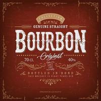 Vintage rotes Bourbonetikett für Flasche vektor