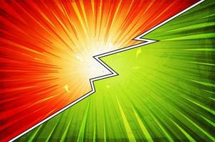 horizontales rotes und grünes Comic-Aktionslayout vektor