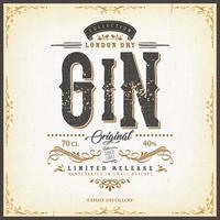 Vintage braune Gin Etikettenschablone für Flasche vektor