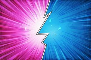 rosa und blaues geteiltes Comic-Aktionslayout vektor