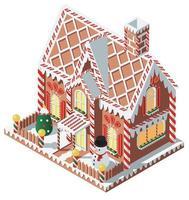 isometrisches Lebkuchenhaus mit Schneemann vektor