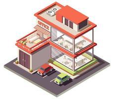 isometrische Zusammensetzung des Home Office vektor