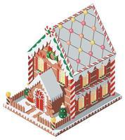 isometrisches Lebkuchenhaus mit Lebkuchenmann und -frau vektor