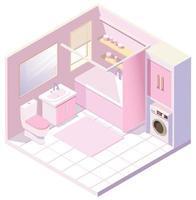 isometrisches rosa Badezimmer vektor