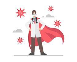 Ein Arzt trägt einen roten Umhang wie ein Superheld