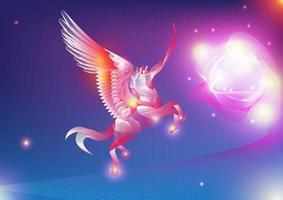 leuchtender bunter Pegasus in der Galaxie vektor